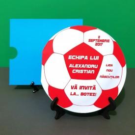 Invitatie Botez Fotbal Alb-Rosu