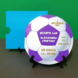 Invitatie Botez Fotbal Alb-Violet-Galben