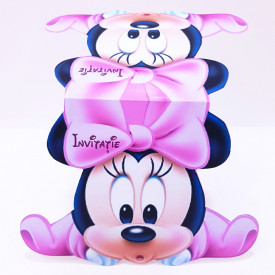 Invitatie Gemeni Contur Minnie Mouse
