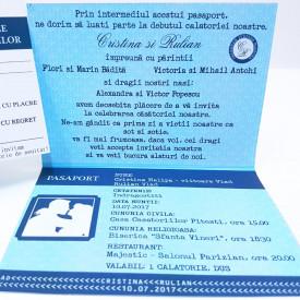 Invitatie Nunta BBS3 Pasaport in DOI Albastru