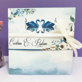Invitatie Nunta Florale Lebede