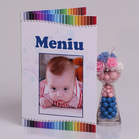 Meniu Botez cu Foto Creioane Colorate
