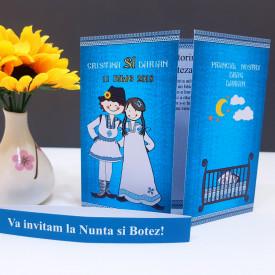 Invitatie 2 in 1 Nunta-Botez Regal NB5