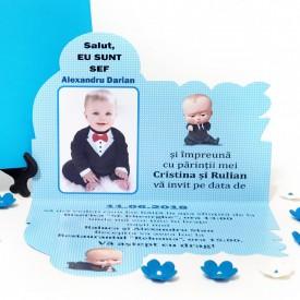 Invitatie Botez Contur Baby Boss 5