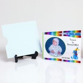 Invitatie Botez Dubla Creioane Colorate