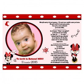 Invitatie Botez Magnetica Minnie Mouse
