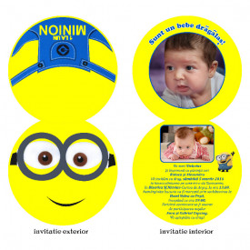 Invitatie Botez Rotunda Dubla Minion