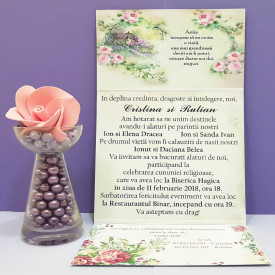 Invitatie Nunta Florale Vintage