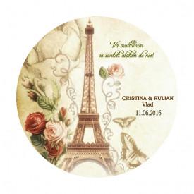Marturie Nunta Magnet Rotund Paris in Love 2