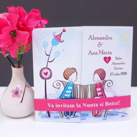 Invitatie 2 in 1 Nunta-Botez Regal NB2
