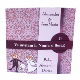 Invitatie 2 in 1 Nunta-Botez Regal NB3