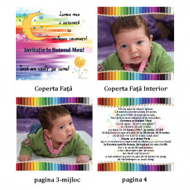 Invitatie Botez Carticica Creioane Colorate