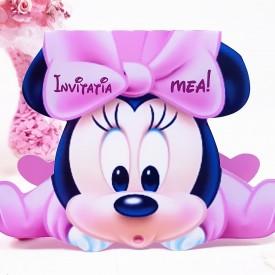 Invitatie Botez Contur Minnie Mouse 6