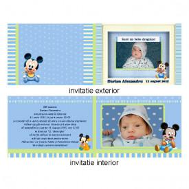 Invitatie Botez Dubla Mickey Mouse 1