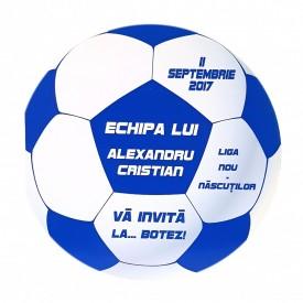 Invitatie Botez Fotbal Alb-Albastru