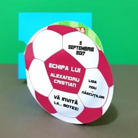 Invitatie Botez Fotbal Alb-Visiniu