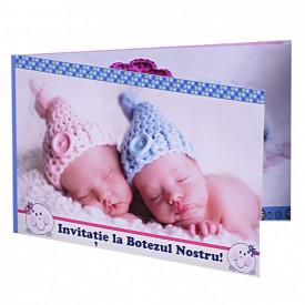 Invitatie Gemeni Dubla Bebelus-Bebelusa Var 1