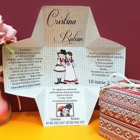 Invitatie Nunta Cutiuta Traditional Romanesc