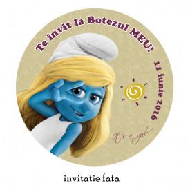 Invitatii Botez Rotunde Strumfita 1