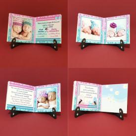 Marturie Gemeni Carticica Bebe Albastru-Roz Var 1