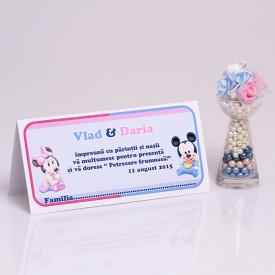 Plic Botez Gemeni Mickey-Minnie Var 2