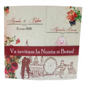Invitatie 2 in 1 Nunta-Botez Regal NB10