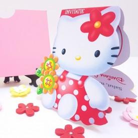 Invitatie Botez Contur Hello Kitty 2
