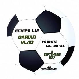 Invitatie Botez Fotbal Alb-Negru