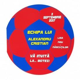Invitatie Botez Fotbal Rosu-Albastru-Galben