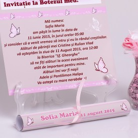 Invitatie Botez Papirus Fluture