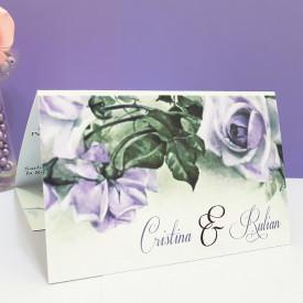 Invitatie Nunta Florale Trandafiri Mov