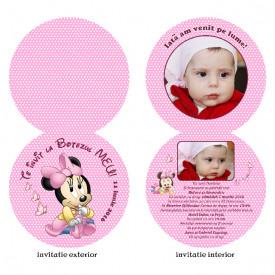 Invitatii Botez Rotunda Dubla Minnie Mouse 1