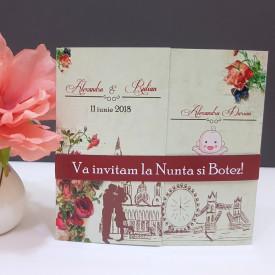 Invitatie 2 in 1 Nunta-Botez Regal NB10