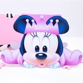 Invitatie Botez Contur Minnie Mouse 3