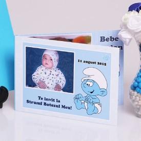 Invitatie Botez Dubla Baby Strumf