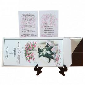 Invitatie Nunta Ciocolata Vintage Cats