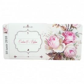 Invitatie Nunta DIVA Trandafiri Roz