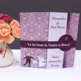 Invitatie 2 in 1 Nunta-Botez Regal NB3