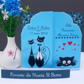 Invitatie 2 in 1 Nunta-Botez Regal NB8