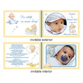 Invitatie Botez Dubla Bebe Vesel