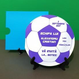 Invitatie Botez Fotbal Alb-Violet