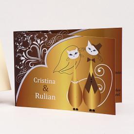 Invitatie Nunta Pisici Gold