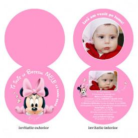 Invitatii Botez Rotunda Dubla Minnie Mouse 2