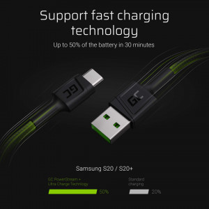 Green Cell GC PowerStream USB-A - USB-C cable 200 cm with support for Ultra Charge QC3.0 fast charging