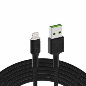 Cable Green Cell Ray USB-A - Lightning White LED 200cm with support for Apple 2.4A fast charging