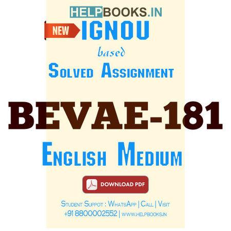 Download BEVAE181 Solved Assignment 2020-2021 (English Medium)-Environmental Studies