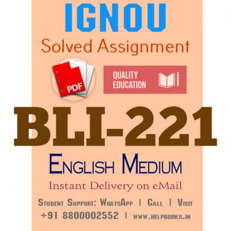 Download BLI221 IGNOU Solved Assignment 2020-2021 (English Medium)