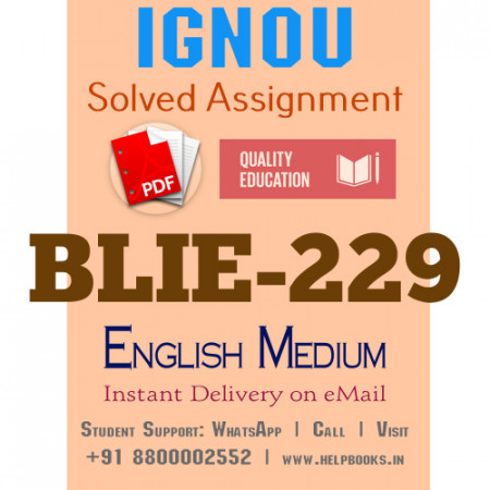 Download BLIE229 IGNOU Solved Assignment 2020-2021 (English Medium)