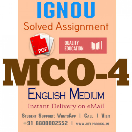 Download MCO4 IGNOU Solved Assignment 2020-2021 (English Medium)