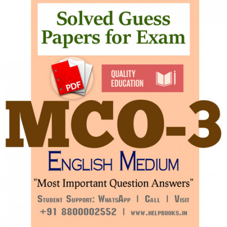 MCO3 IGNOU Solved Sample Papers/Most Important Questions Answers for Exam-English Medium